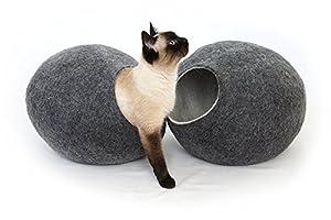猫ベッド、ペットハウス、洞穴、うたた寝用の繭(コクーン)、100%ウールの100%ハンドメイド、Kivikis製 サイズ: L(大), 約6-8kg(13-16 ponds)猫用 (Dark gray)