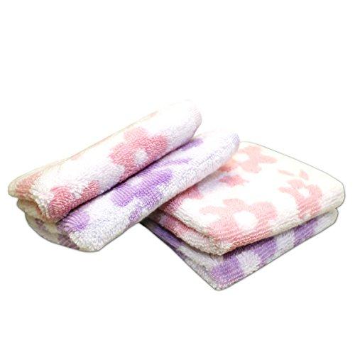 ふわふわ 無撚糸 タオルハンカチ ギフトラッピング ナチュラル フラワー 2色20枚組(20×20cm)ピンク・パープル