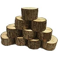 Sweet+ 木製 メモスタンド カードスタンド 写真立て 結婚式 オフィス メモクリップ テーブル インテリア (切り株 20個)