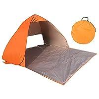 テント ワンタッチテント 200×190cm サンシェード ポップアップテント ワンタッチサンシェード UVカット 防水 組立不要 設置簡単 アウトドア キャンプ 日よけ 収納ケース付き (橙)