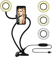 Selfie Ring Light with Cell Phone Holder Stand for Live Stream/Makeup, Amazer Tec LED Camera Lighting [3-Light Mode]...