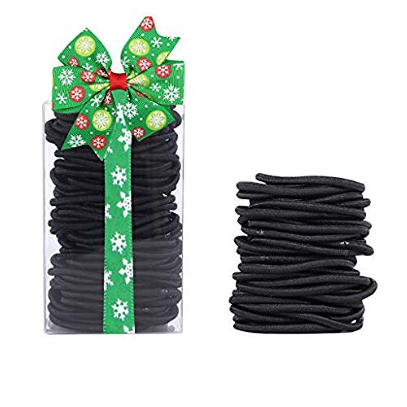 四回幻滅する彫刻ヘアゴム リングゴム、余分な厚い髪のエラスティック編みの弾性、ミディアムヘアの100本 結び目?接合なしタイプ (ブラック4mm)