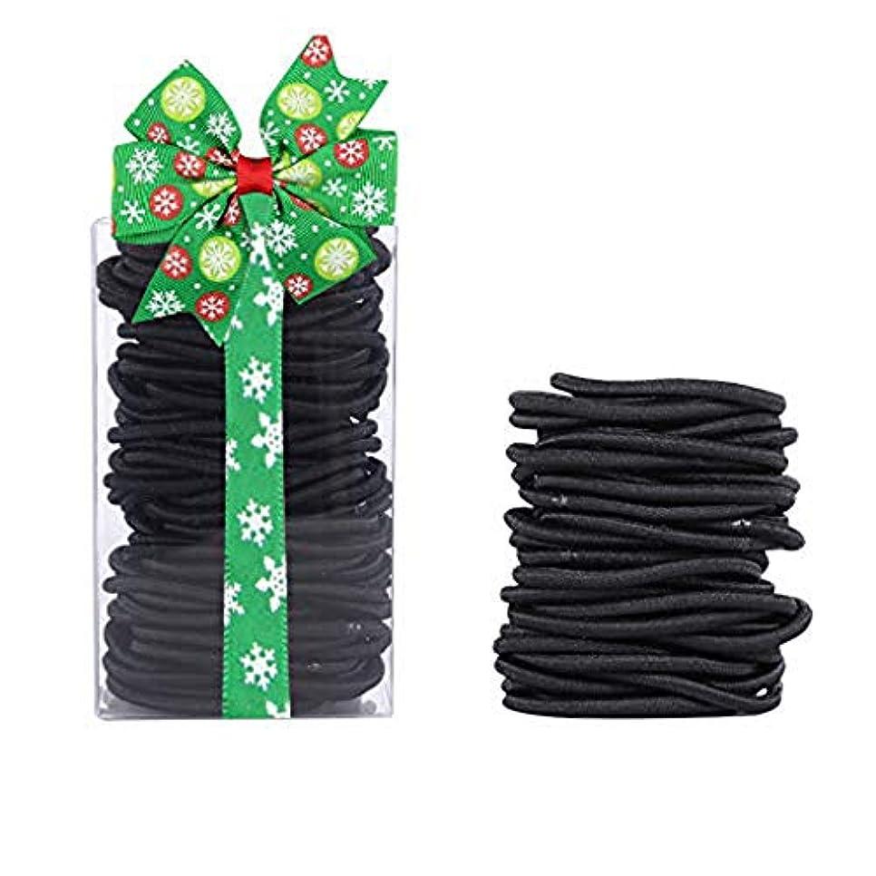年次スキャンダラスうんヘアゴム リングゴム、余分な厚い髪のエラスティック編みの弾性、ミディアムヘアの100本 結び目・接合なしタイプ (ブラック4mm)