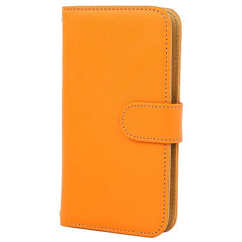 [スマ通] XPERIA X F5121 / F5122 スマホケース スマホカバー 携帯ケース 携帯カバー カバー ケース 手帳型 本革 オレンジ SONY ソニー エクスペリア エックス SIMフリー 海外端末