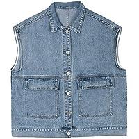 Yshaobinggva Dungarees Denim Vest Female Sleeveless Vest Loose Vest Jacket Autumn (Color : Blue, Size : M)