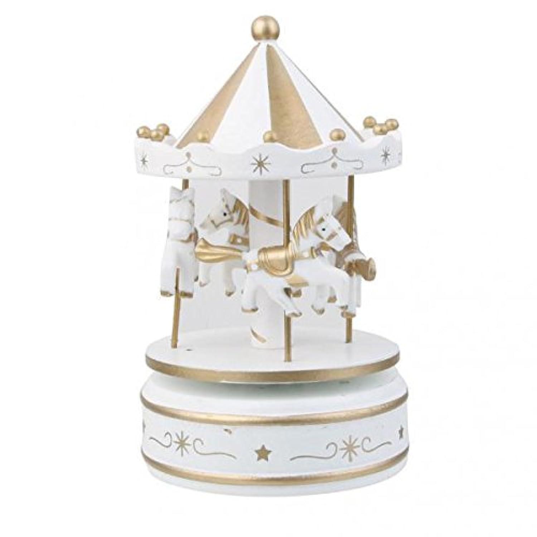 SONONIA 木製 メリーゴーランド オルゴール 可愛い ホームの飾り 室内装飾 赤ちゃんの贈り物 ホワイト 2個
