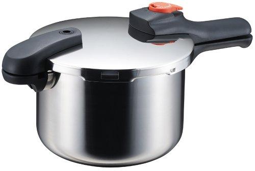 パール金属 片手 圧力鍋 4.5L IH対応 ステンレス 圧力切替式 レシピ付 節約クック H-5436