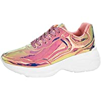 LUCKY-STEP Women Metallic Running Shoes Iridescent PU Low Top Casual Hologram Fashion Sneakers