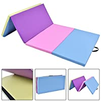 "体操練習マット4 ' x 8 ' x 2 "" multi-colors Folding PUパネルwith eBook"