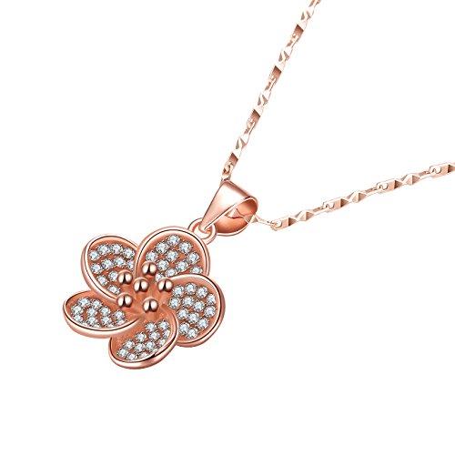PLEMO ネックレス ペンダント 100%925純銀製 ピンクゴール レディース ジュエリー アクセサリー 淡いピンク桜 JN-01
