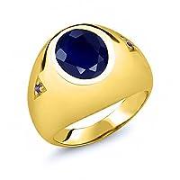 Gem Stone King 5.08カラット 天然サファイア 天然アメジスト シルバー 925 イエローゴールドコーティング 指輪 リング