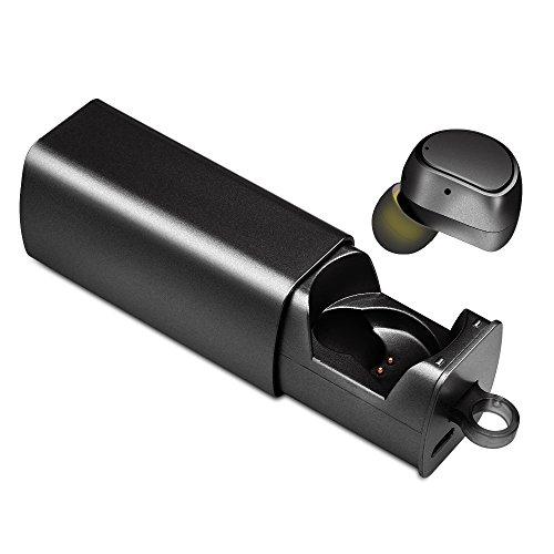 TmDeken Bluetooth イヤホン ワイヤレス スポーツ 高音質 防水 片耳 超軽量 小型 マイク内蔵 ワンボタン設計 ハンズフリー通話 充電式収納ケース iPhone Android 対応 (片耳(ブラック))