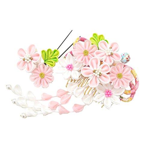 ノーブランド品女性和装髪飾り花コーム&Uピン2点セットちりめんリボン8189杉野ピンク