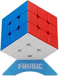 FAVNIC 魔方 マジックキューブ ステッカーレス 立体パズル 競技用3x3x3 プロ向け 達人向け 中級者向け 世界基準配色 ポップ防止 (強化磁力版)
