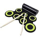 Rockpals 電子ドラム ポータブル ドラム 練習用パッド スピーカー内蔵 電池付き MP3?USB?イヤホン対応 マルチ伴奏 デモ機能搭載 8デモ曲 7個ドラムパッド 5音色 3リズム 充電式 電子どらむ 練習/初心者/入門/子供/おもちゃ 一年保証