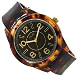 J-AXIS べっ甲風ラバーウォッチ 女性に人気の腕時計 ブラウン×ブラック BG1074-BRBK