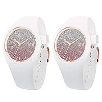 [アイスウォッチ]ICE-WATCH ペアBOX付 ペアウォッチ シェア ユニセックス ICE lo 43mm ピンク ホワイト シリコン 2本セット 013431013431 腕時計 [並行輸入品]