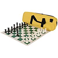 Deluxe Chess Set Combination - Triple Weighted - Neon Yellow - by US Chess Federation