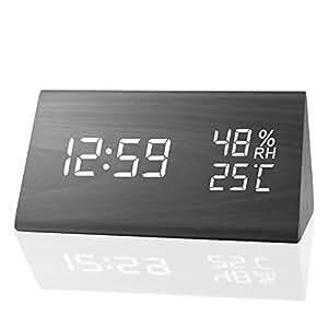 MEKO 目覚まし時計 デジタル置き時計 LED カレンダー インテリア 温度湿度計 アラームおしゃれ ウッド木目調 デザイン 省エネ 音声感知
