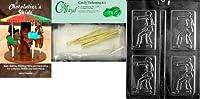 Cybrtrayd空手チョコレート金型with Chocolatierのバンドル、Includes 25チェロバッグ、25ゴールドツイスト紐とChocolatierのガイド