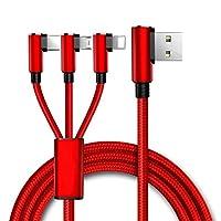 ACHICOO 充電ケーブル USBコネクタ 携帯電話充電ケーブル 3 in 1 リバーシブル マルチマイクロUSB タイプC iPhone用 90度 複数Android用 USB 赤