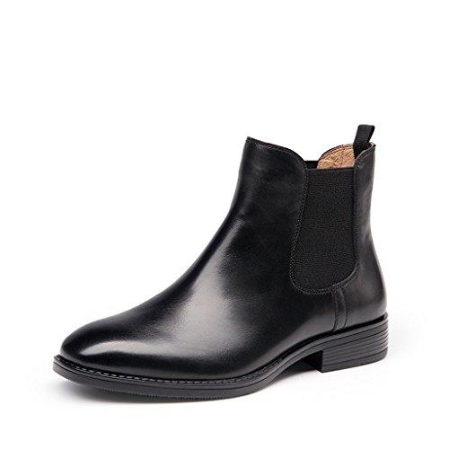 (ピカピカ ショー)Pikapika show レディース ブーツ 本革 ショートブーツ サイドゴア 秋冬靴 イングランド風 ブラック 40