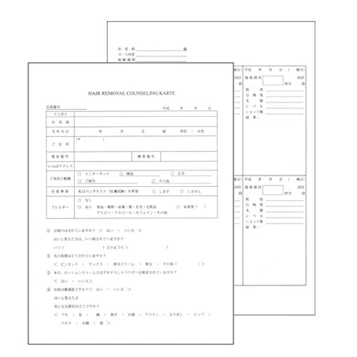 皮肉アナニバーインターネットヘアリムーバル カウンセリングカルテ A4判両面/4ページ構成(50枚入)