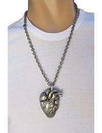 TFjメンズファッションネックレスThickメタルチェーンHuman Heartネックレスロックパンクスタイルペンダントアンティークシルバー
