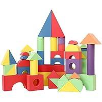 PovKeever ブロック 積み木 軽くて柔らかい おもちゃ DIY カラフル EVA素材 知育玩具 教育おもちゃ 想像力 発想力 変形しにくい50ピース size 49*24*19cm