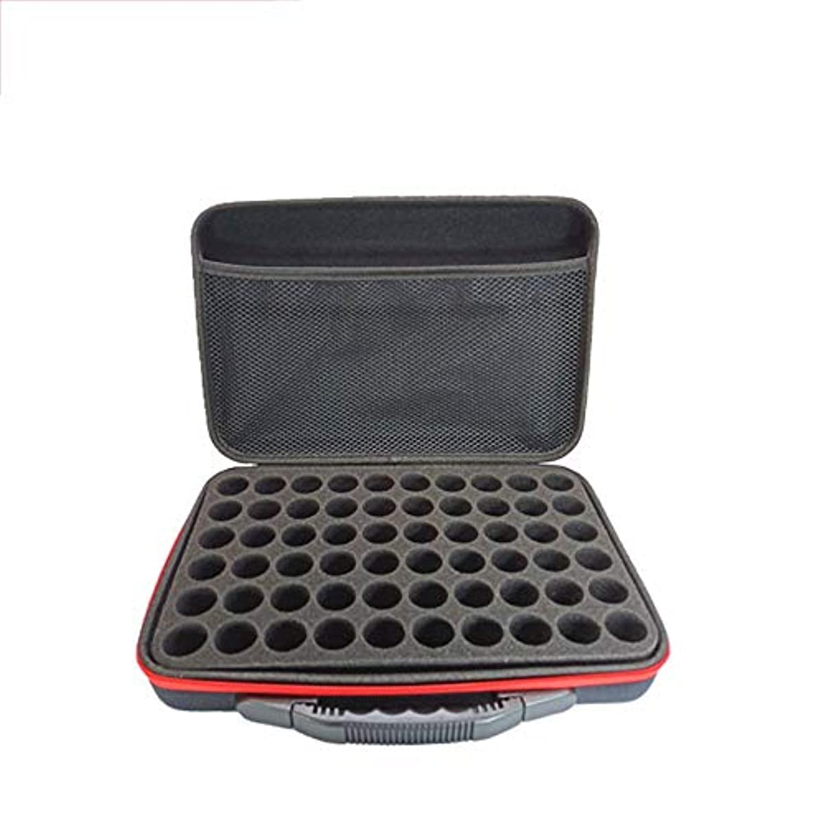 デコードするカップルシリングエッセンシャルオイル収納ボックス エッセンシャルオイルキャリングケースは、旅行のための60本のボトル15mlのトラベルオーガナイザーポーチバッグを(トップのハンドルキャリー)開催します ポータブル収納ボックス (色 : ブラック, サイズ : 32X22X9CM)