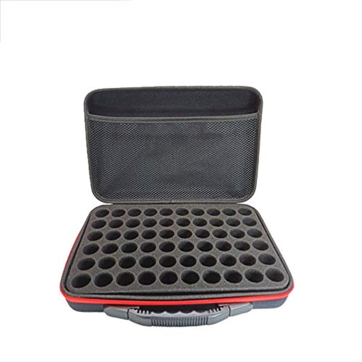 脅かす知るコードレスエッセンシャルオイルボックス ハードシェルスーツケースの油貯蔵外部保存袋は、袋15ミリリットルトラベルオーガナイザーバッグを整理する60本(上、ハンドルを運びます) アロマセラピー収納ボックス (色 : ブラック, サイズ...