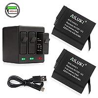 Ailuki 充電式バッテリー 2個 & 3チャンネル充電器 GoPro HERO 5 HERO5 Black用 (ファームウェア v02.00 v01.57 v01.55以降のアップデートに対応) 3-Channel Charger x 2 Batteries(Gopro 5) A-002