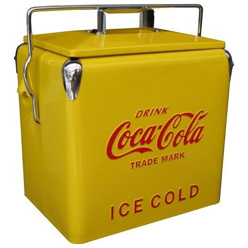 1950年代の復刻デザイン!コカコーラ ピクニックストレージイエロー クーラーボックス