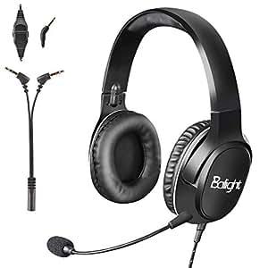 Balight ヘッドセット USB接続 3.5mmコネクタ PS4/PC/Mac/スマホ対応 ヘッドホン 開放型 高集音性マイク付き 重低音 騒音抑制オーディオジャック 映画 音楽 学習 ビジネス ゲーム用 サラウンド 両耳ヘッドバンド式ヘッドセット ブラック