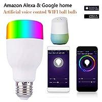 無線電球 Wifiのスマートな電球 スマートホーム RGBW色球 携帯電話の制御 Alexa Google Home