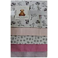 Rene Rofe 5 Pk.Soft Flannel Baby Girls Receiving Blankets Pink and White [並行輸入品]