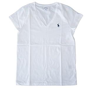 (ポロ ラルフローレン)POLO Ralph Lauren 半袖 Tシャツ ワンポイント レディース Vネック ホワイト×ネイビー M [並行輸入品]