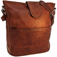 "Handbag Leather Gusti nature""Jacqueline"" Shoulder Bag Shopper Leather Bag Ladies Vintage Look Natural Leather Brown"