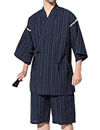 JIGGYS SHOP 甚平2点セット (甚平上下 扇子) メンズ 甚平上下セット しじら織り 綿100% 和服