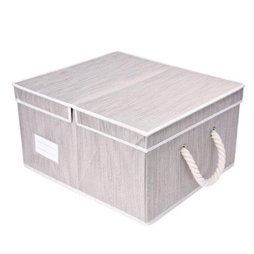 StorageWorks 不織布収納ボックス フタ付き 折りたたみ収納ケース 大容量 幅44×奥行39×高さ23.5cm 洋服収納 ライトグレー お部屋の片付けにも便利