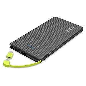 KYOKA モバイルバッテリー 10000mAh ケーブル内蔵 軽量 薄型 大容量 ライトニング/microUSBコネクタ付 2USBポート 2台同時充電 スマホ 充電器 コンパクトで持ち運び便利 iphone/android/ipadに対応 (ブラック)