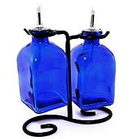 Oil & Vinegarディスペンサーセット、装飾オリーブオイルボトルまたはLiquid Soapコンテナg18fr2コバルトブルーRomaボトル。ステンレススチール、コルクと注ぎ口ブラックメタルスタンド含ま