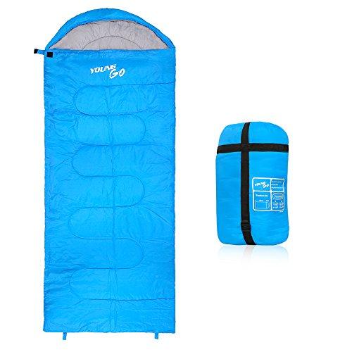 YoungGo 寝袋 封筒型シュラフ 1780g コンパクト軽量スリーピングバッグ190T アウトドア 登山 車中泊 防水 丸洗い 収納袋付き(300g /㎡)