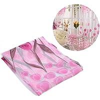 WINOMOチューリップ花シアーカーテンウィンドウ画面タッセル花柄プリントチュールボイル(ピンク)