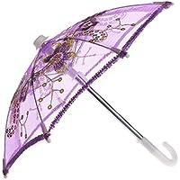 Lovoski  人形用 かわいい 花柄 傘 18インチアメリカンガールドール適用 全4色 - 紫