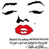 マリリン モンロー 英字 ウォール ステッカー 簡単 剥がし 貼り 直し 可能 防水 ペーパー シール