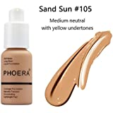 (105 Sand) - Liquid Concealer,PHOERA Matte Oil Control Concealer Foundation Cream,Long Lasting Waterproof Matte Liquid Foundation-30ml (105 Sand)