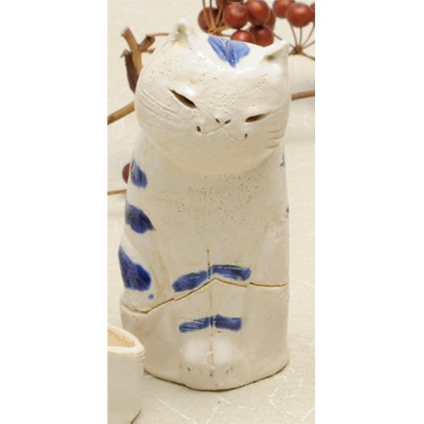 一掃する計器ハブブ島ねこ 島しま立ちネコ 香炉(大)(青) [H11cm] HANDMADE プレゼント ギフト 和食器 かわいい インテリア