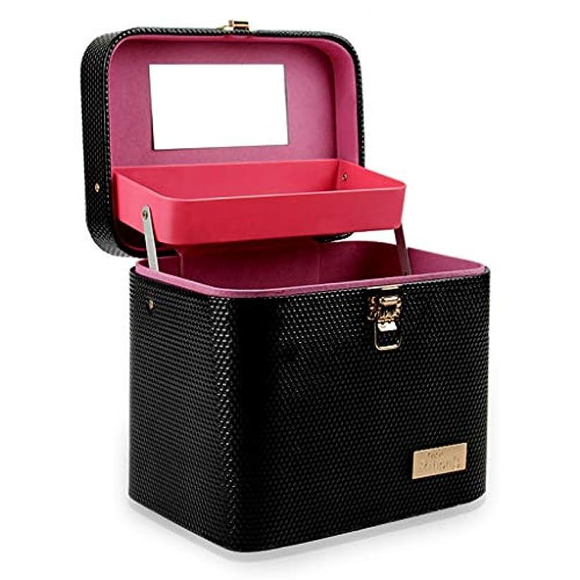 ガウンシェードのホスト[テンカ]メイクボックス コスメボックス 黒 化粧箱 鏡付き 収納ボックス 収納ケース 化粧品?化粧道具入れ 自宅?出張?旅行?アウトドア撮影 プロ用 大容量 取っ手付 多機能