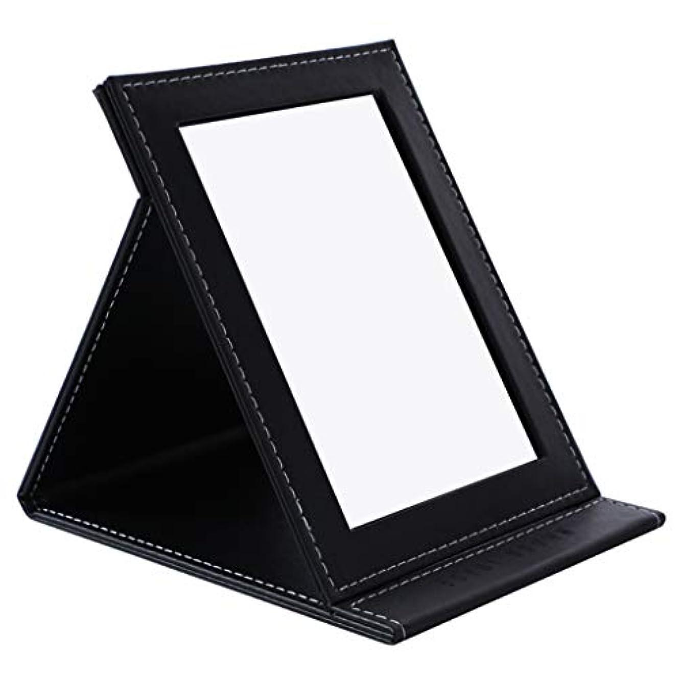 もの然とした郡デスクトップの虚栄心ミラーHD折りたたみミラー卓上化粧鏡ポータブル用女の子学生女性,黒
